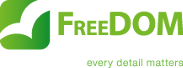 FreeDOM Development slogan logo dark background