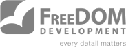 FreeDOM Development slogan logo grey
